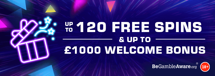 Dr Slot Casino welcome bonus - up to 120 free spins & up to £1000 welcome bonus