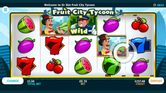 Welcome to Dr Slot Fruit City Tycoon - Slots game screen